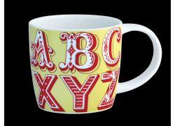 Carnival Alphabet Yellow bone china mug