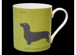 Silhouette LARGE Dachshund Green Bone China Mug