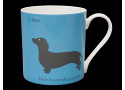 Silhouette LARGE Dachshund Blue Bone China Mug