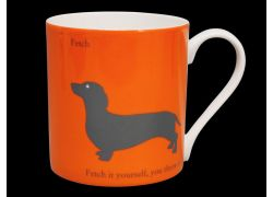 Silhouette LARGE Dachshund Orange Bone China Mug