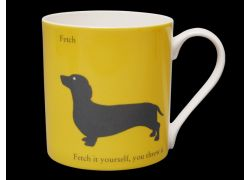 Silhouette LARGE Dachshund Yellow Bone China Mug