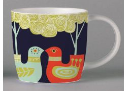 Folkland Kissing Birds Dark Grey bone china