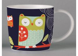 Folkland Barn Owl Dark Grey bone china