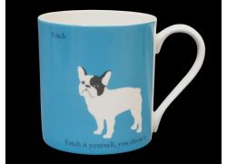 Silhouette LARGE French Bulldog Blue Bone China Mug
