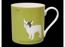 Silhouette LARGE French Bulldog Green Bone China Mug