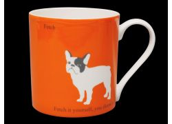 Silhouette LARGE French Bulldog Orange Bone China Mug