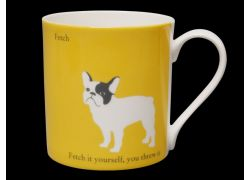 Silhouette LARGE French Bulldog Yellow Bone China Mug