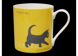 Silhouette LARGE Kitten Yellow Bone China Mug