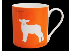 Silhouette LARGE Lamb Orange Bone China Mug