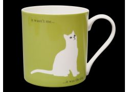 Silhouette LARGE Sitting Cat Green Bone China Mug