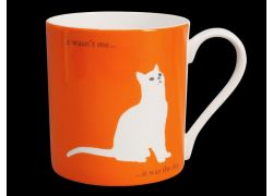 Silhouette LARGE Sitting Cat Orange Bone China Mug