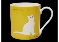 Silhouette LARGE Sitting Cat Yellow Bone China Mug