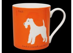 Silhouette LARGE Terrier Orange Bone China Mug
