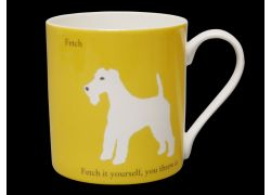 Silhouette LARGE Terrier Yellow Bone China Mug