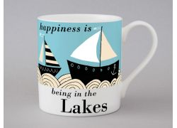 A bone china Lakes boat mug by Repeat Repeat