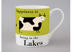 A bone china Lakes cow mug by Repeat Repeat