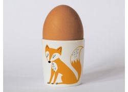 A bone china fox egg cup by Repeat Repeat