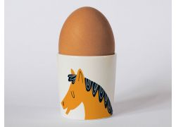 A bone china horse egg cup by Repeat Repeat