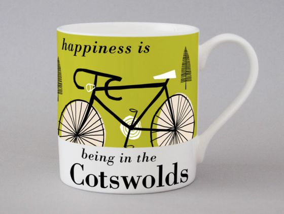 A bone china Cotswolds cycling mug by Repeat Repeat