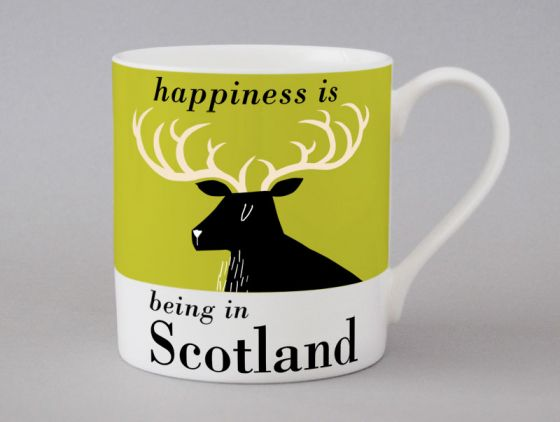 A bone china Scotland stag mug by Repeat Repeat