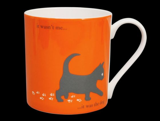 Silhouette LARGE Kitten Orange Bone China Mug