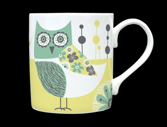 Owl Sage Green Bone China Mug