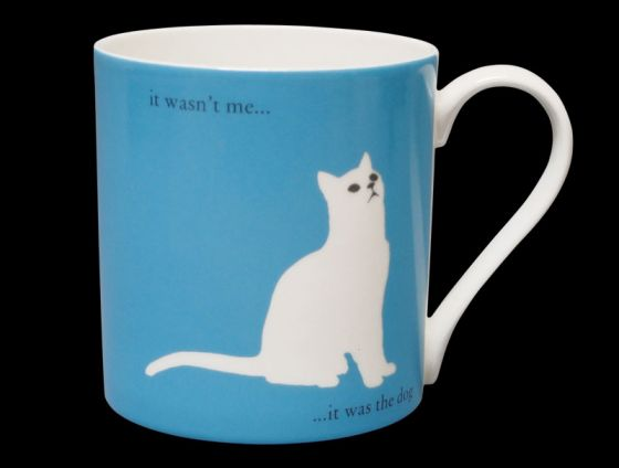 Silhouette LARGE Sitting Cat Blue Bone China Mug