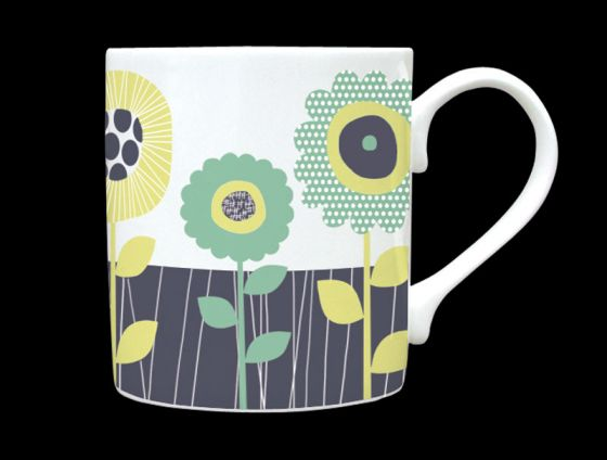 Sunflower Sage Green Bone China Mug