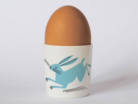 A bone china hare egg cup by Repeat Repeat