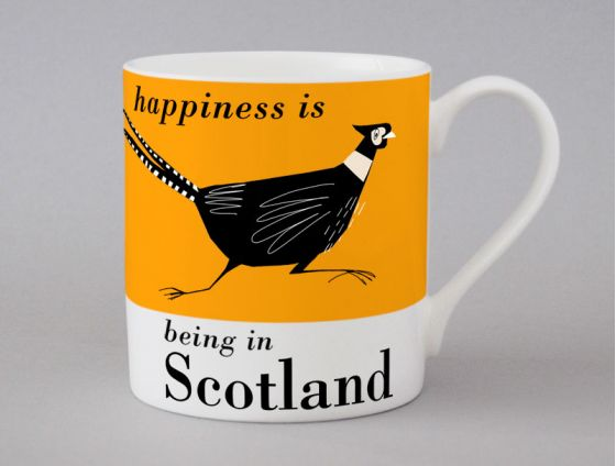 A bone china Scotland pheasant mug by Repeat Repeat