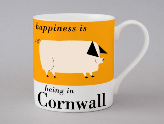 A bone china Cornwall pig mug by Repeat Repeat